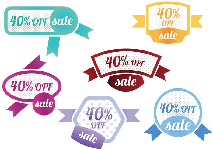 40 Percent Off Sale Vector Badges