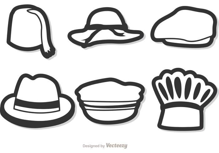 Black And White Vector Hats Pack 2