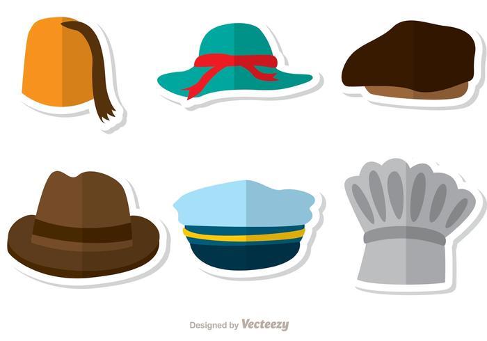 Pacote colorido de vetores de chapéus 2