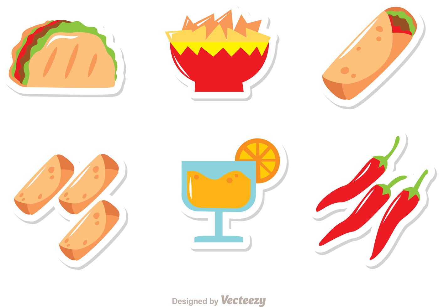 Mexican Food Icons Vectors Pack - Download Free Vector Art, Stock ...