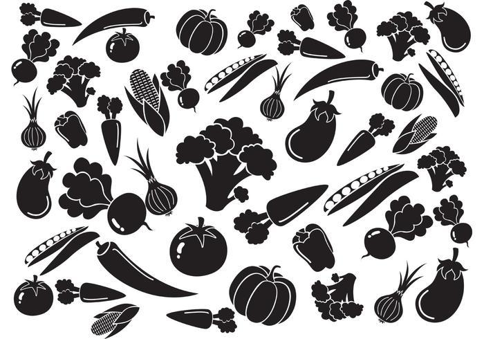 Black White Vegetables Pattern Vector
