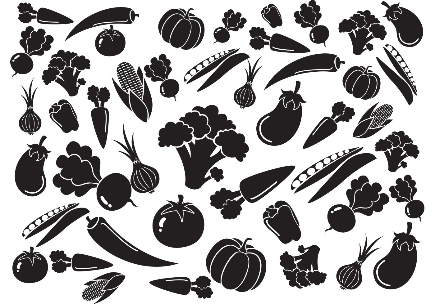 Black White Vegetables...