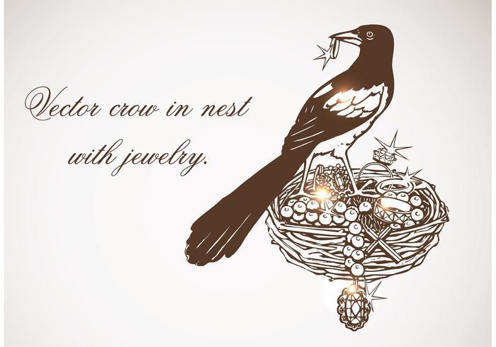 Cuervo vector libre en el nido con joyería
