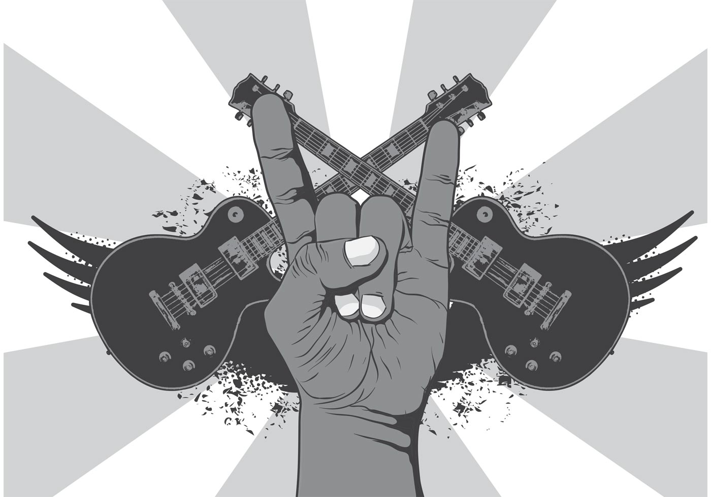 Rock Music Wallpaper: Rock N Roll Music Symbol Vector Background