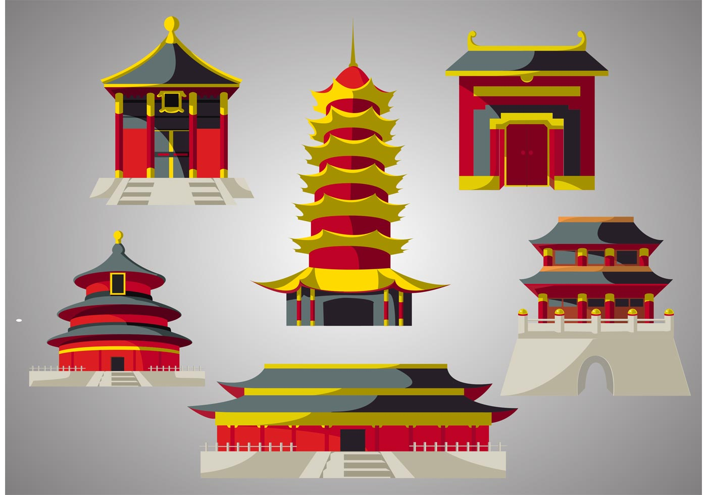 Chinese temple vector pack download free vector art for Chinese vector