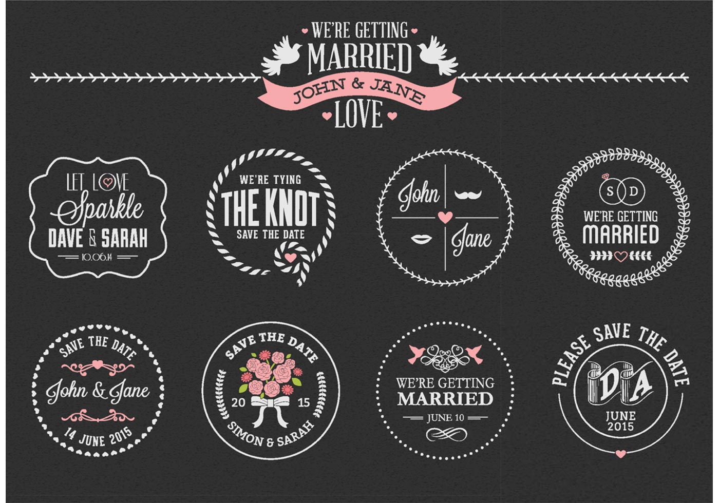 free chalk save the date labels vector download free vector art