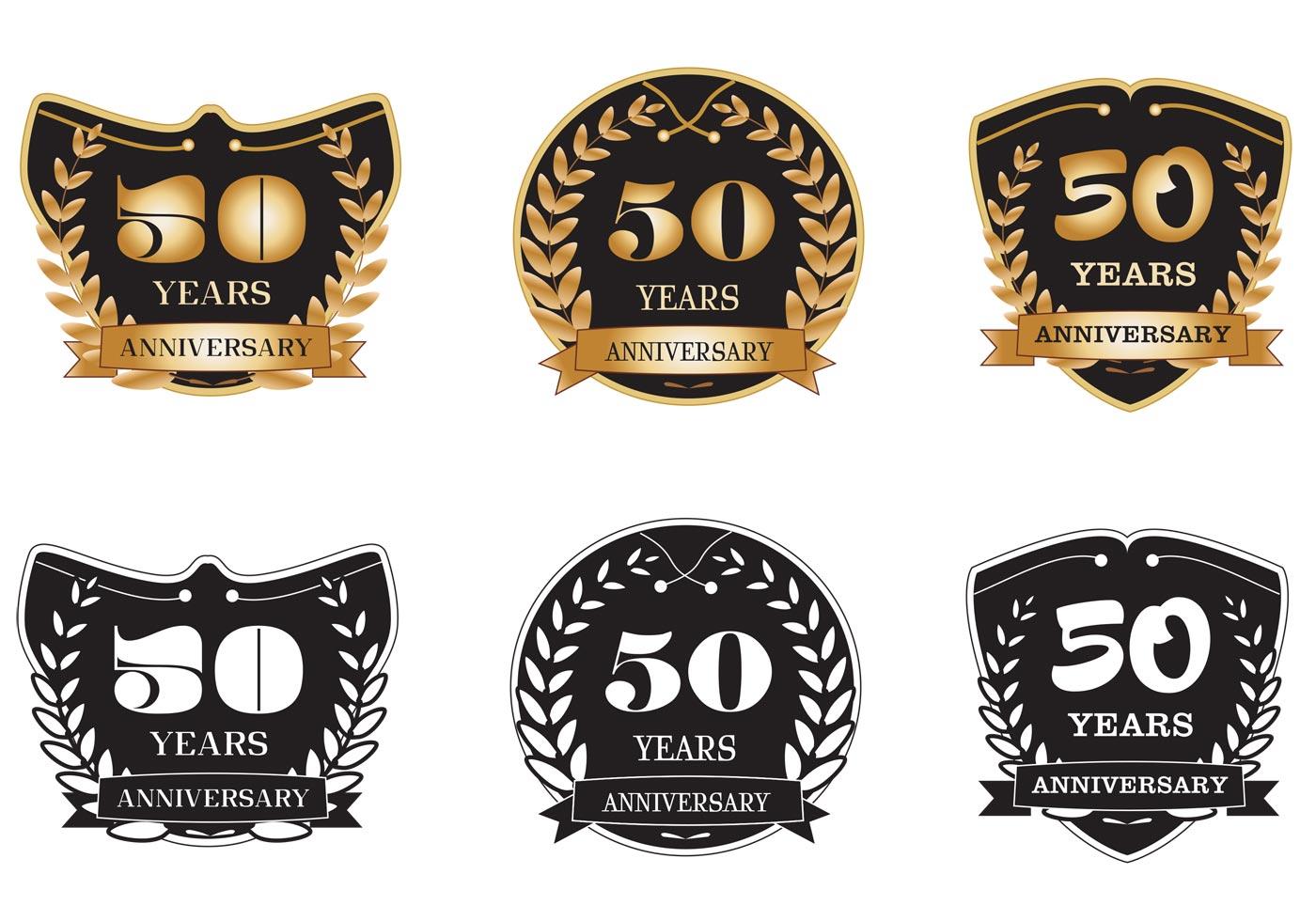 50 Years Anniversary Badges Download Free Vector Art