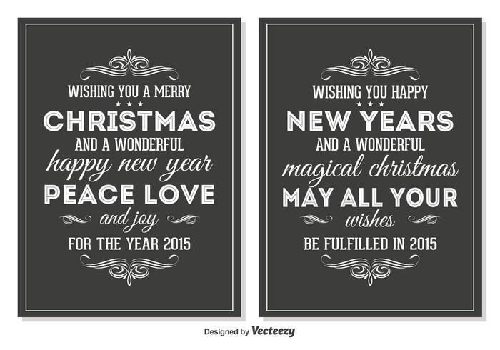 Chalkboard Style Retro Christmas Cards