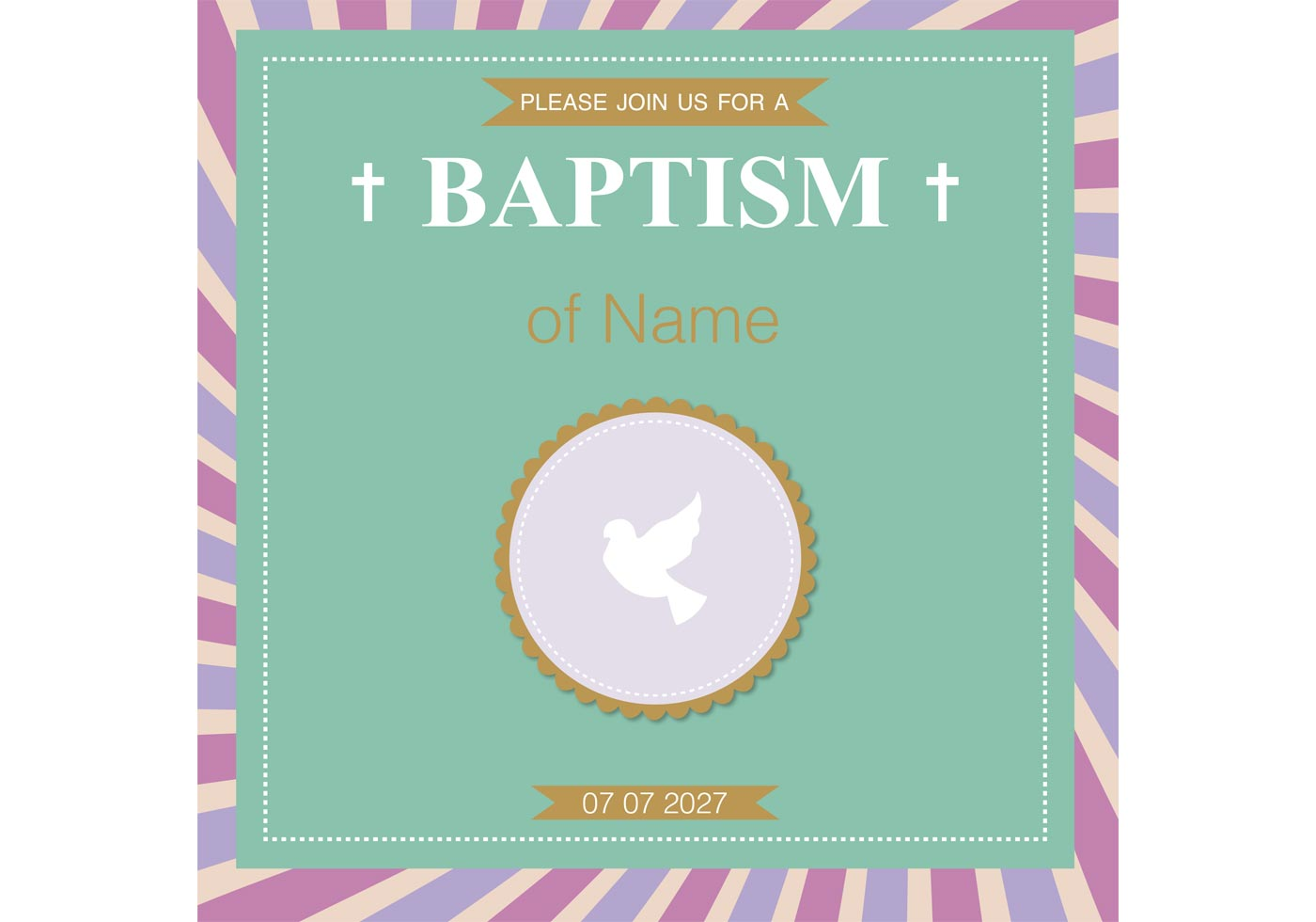 baptism card christening vector