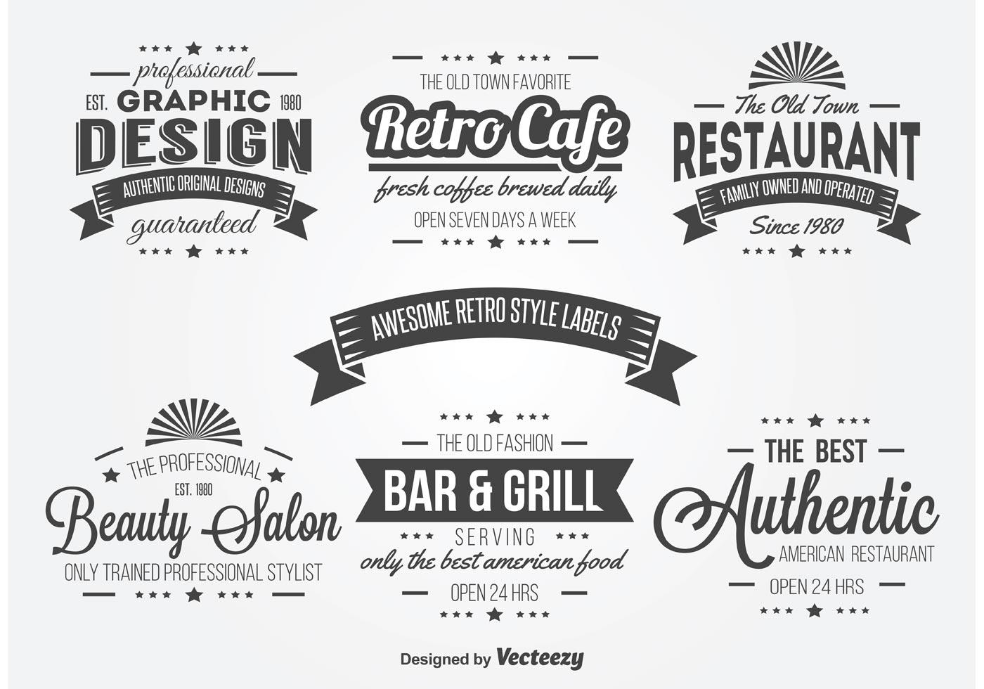 Retro Typography Label Vectors Download Free Vector Art