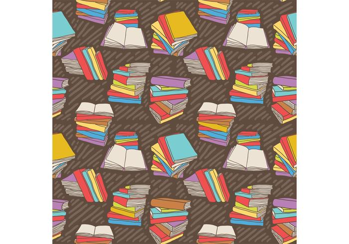 Free Hand Drawn Vector Pile de livres Pattern sans couture