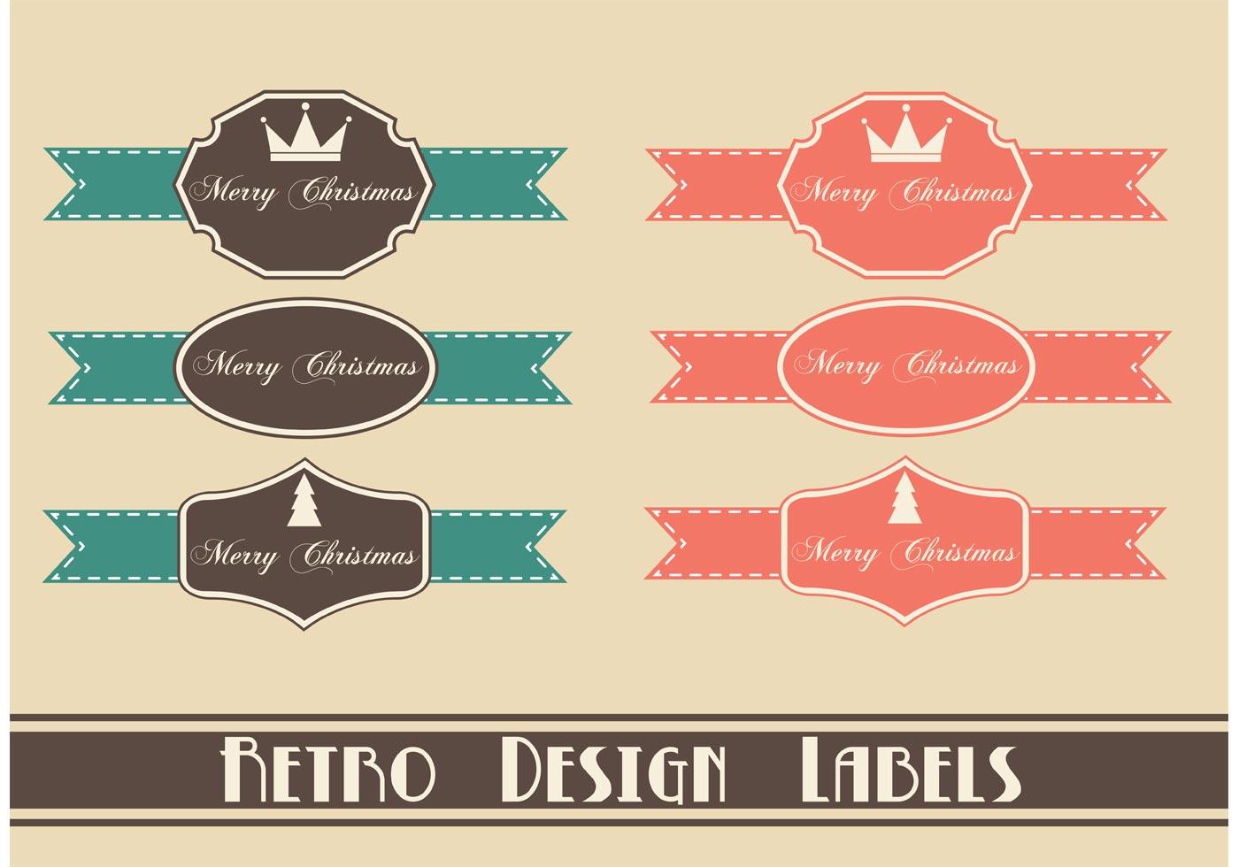 free retro christmas label vektoren kostenlose vektor. Black Bedroom Furniture Sets. Home Design Ideas