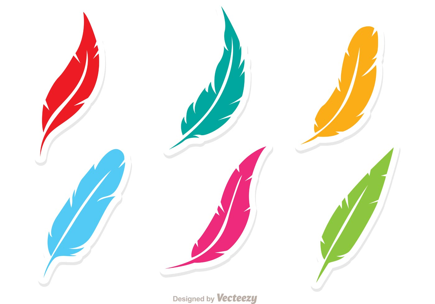 vector set of colorful feathers download free vector art