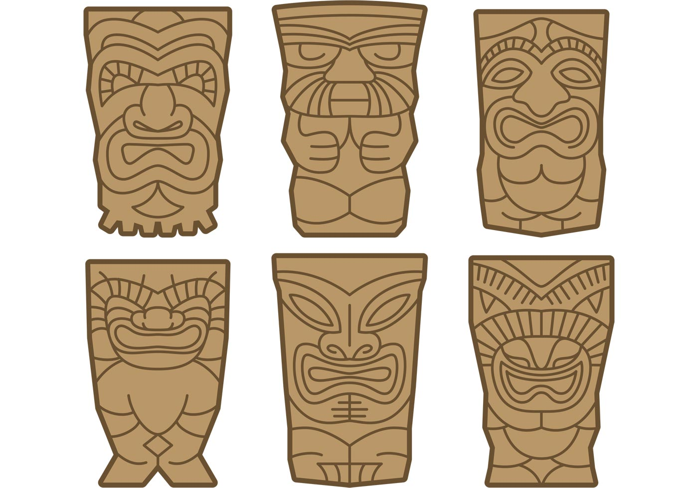 Tiki Totems Vectors - Download Free Vector Art, Stock Graphics ...: http://www.vecteezy.com/vector-art/83487-tiki-totems-vectors