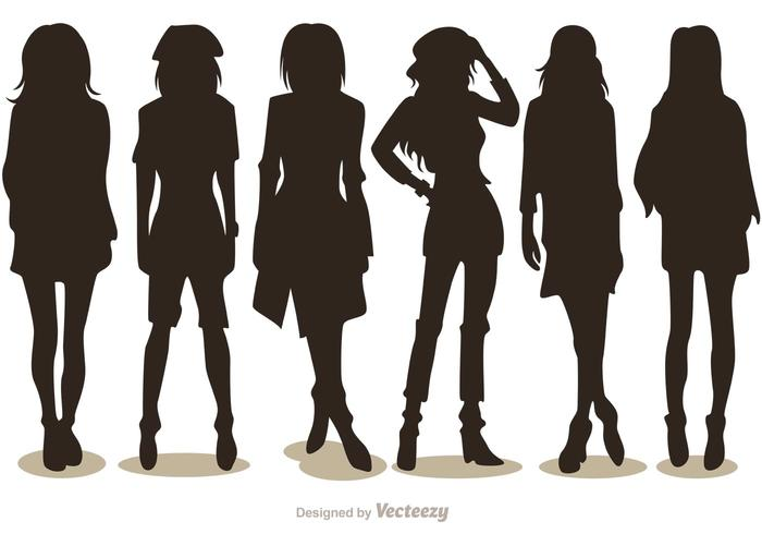 Silhouette fashion girl vectors pack 2