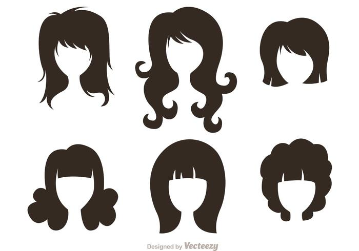 Black Silhouette Woman With Hairstyles Vectors