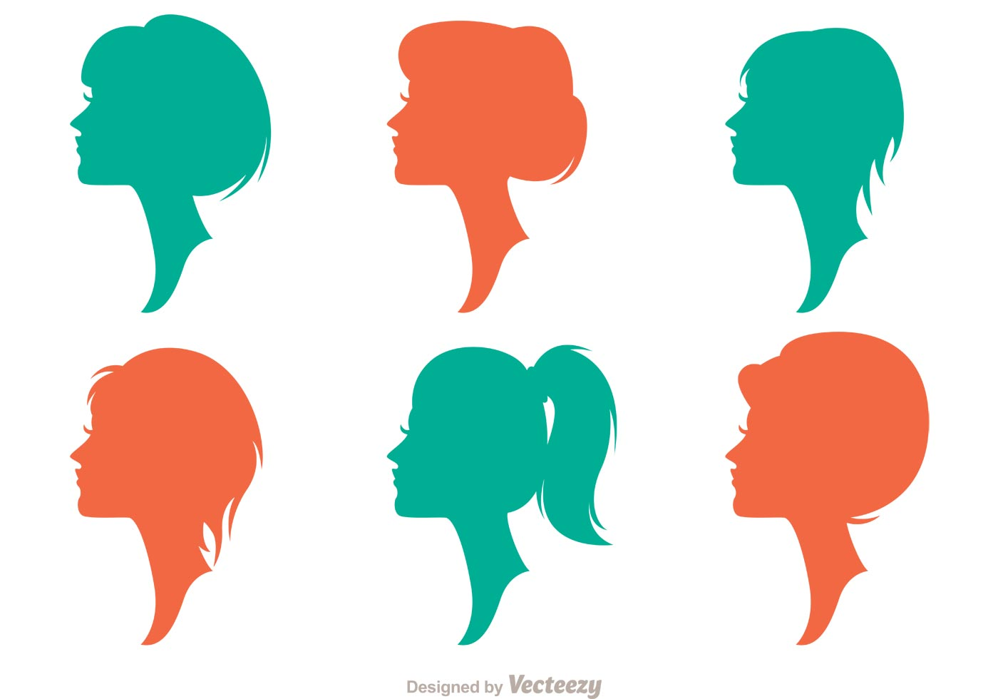 Hairstyle Vector: Silhouette Woman With Hairstyles Vectors Pack 2