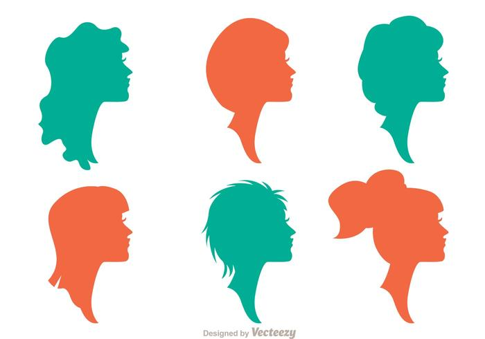 Silhouette Woman With Hairstyles Vectors Pack 1
