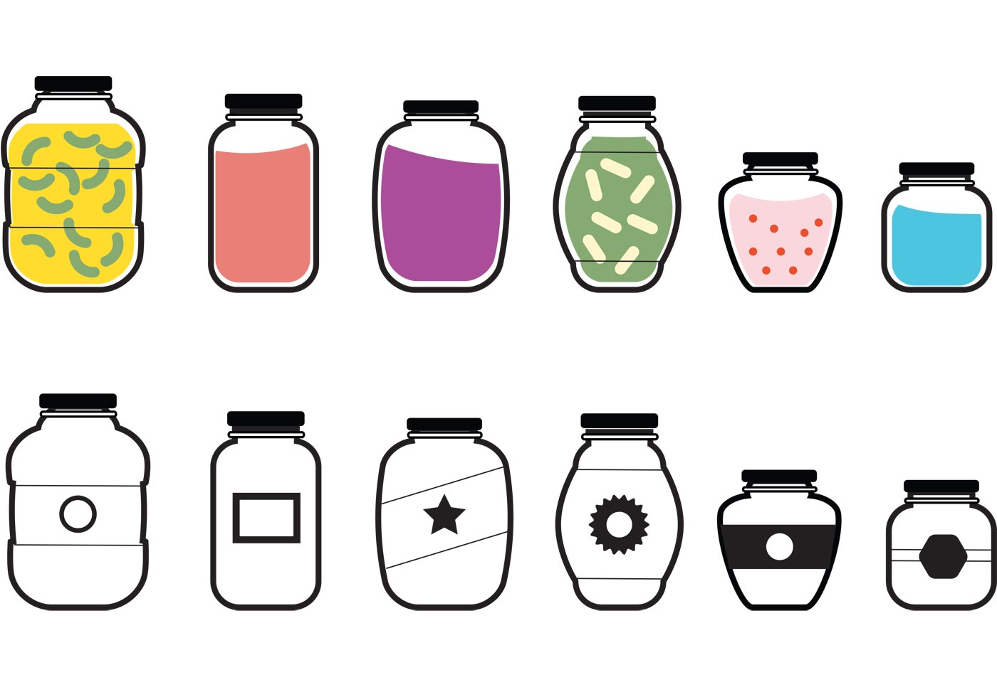 Mason Jar Vector Icons - Download Free Vector Art, Stock ...