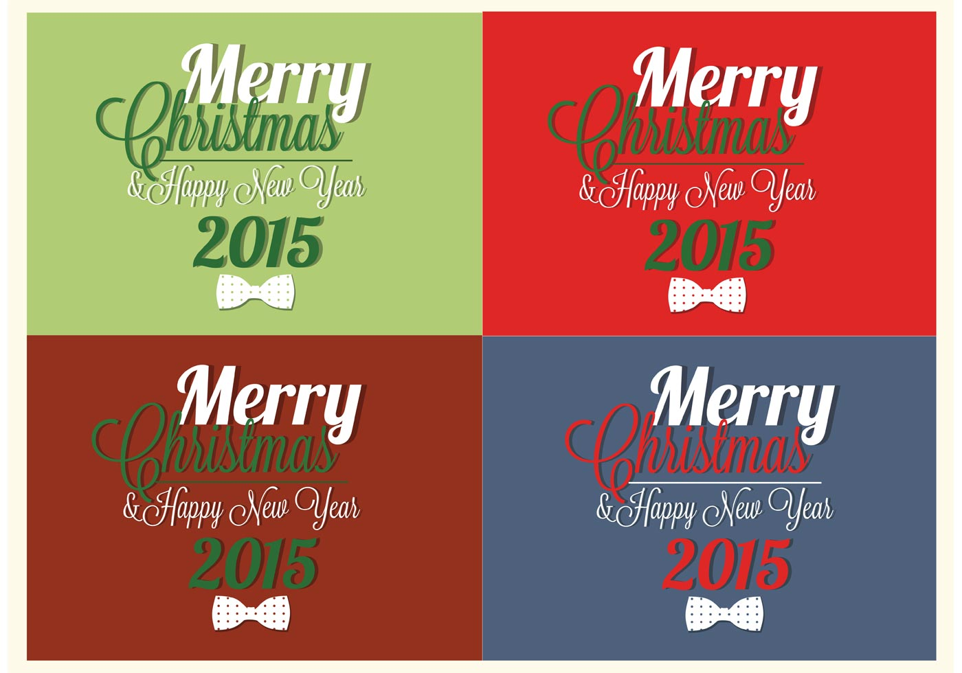 Bow Tie Merry Christmas And Happy New Year Vector Cards Download