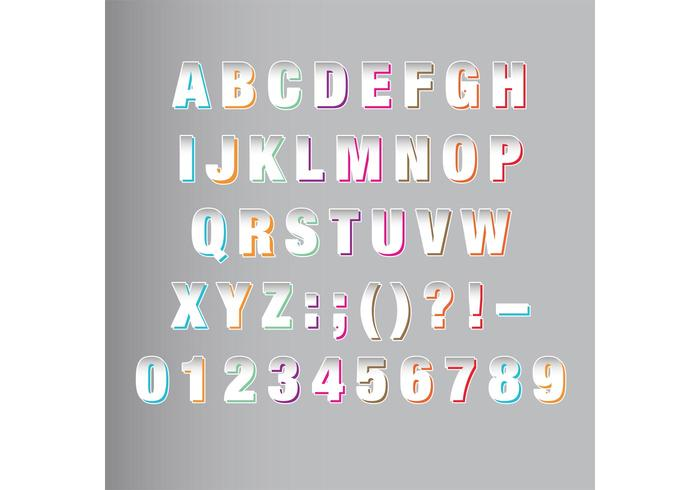 White Origami Font Vector