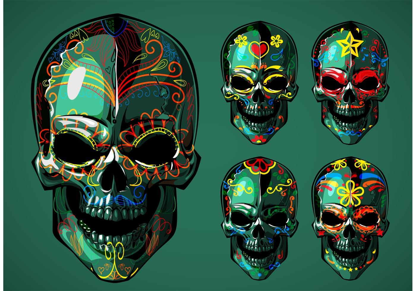 Dia de Los Muertos Sugar Skull Vectors - Download Free ...