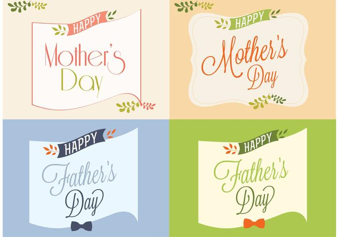 Happy Father's e Mother's Day Cards vettore