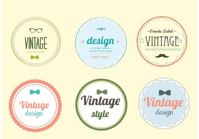Trendy Vintage Label Vector Set