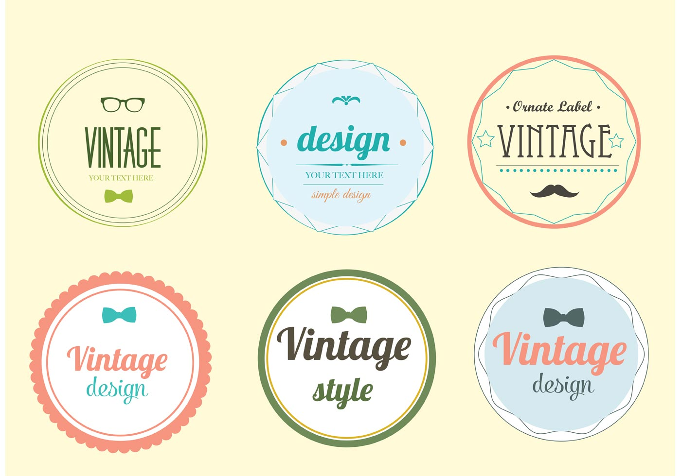 Trendy Vintage Label Vector Set - Download Free Vector Art ...