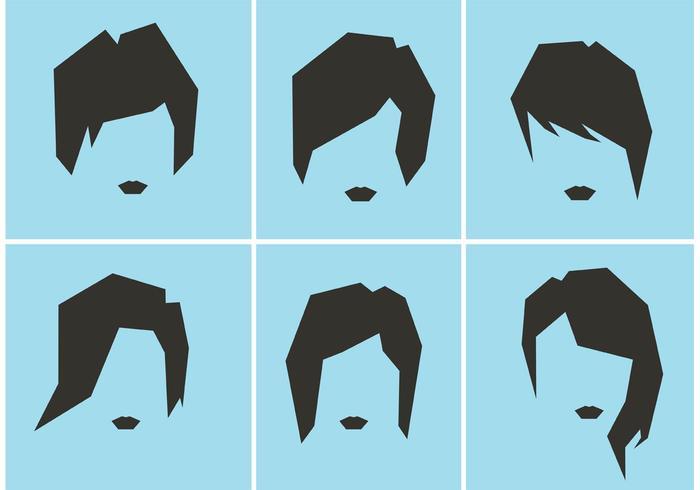 Vectores del estilo del pelo de las mujeres libres