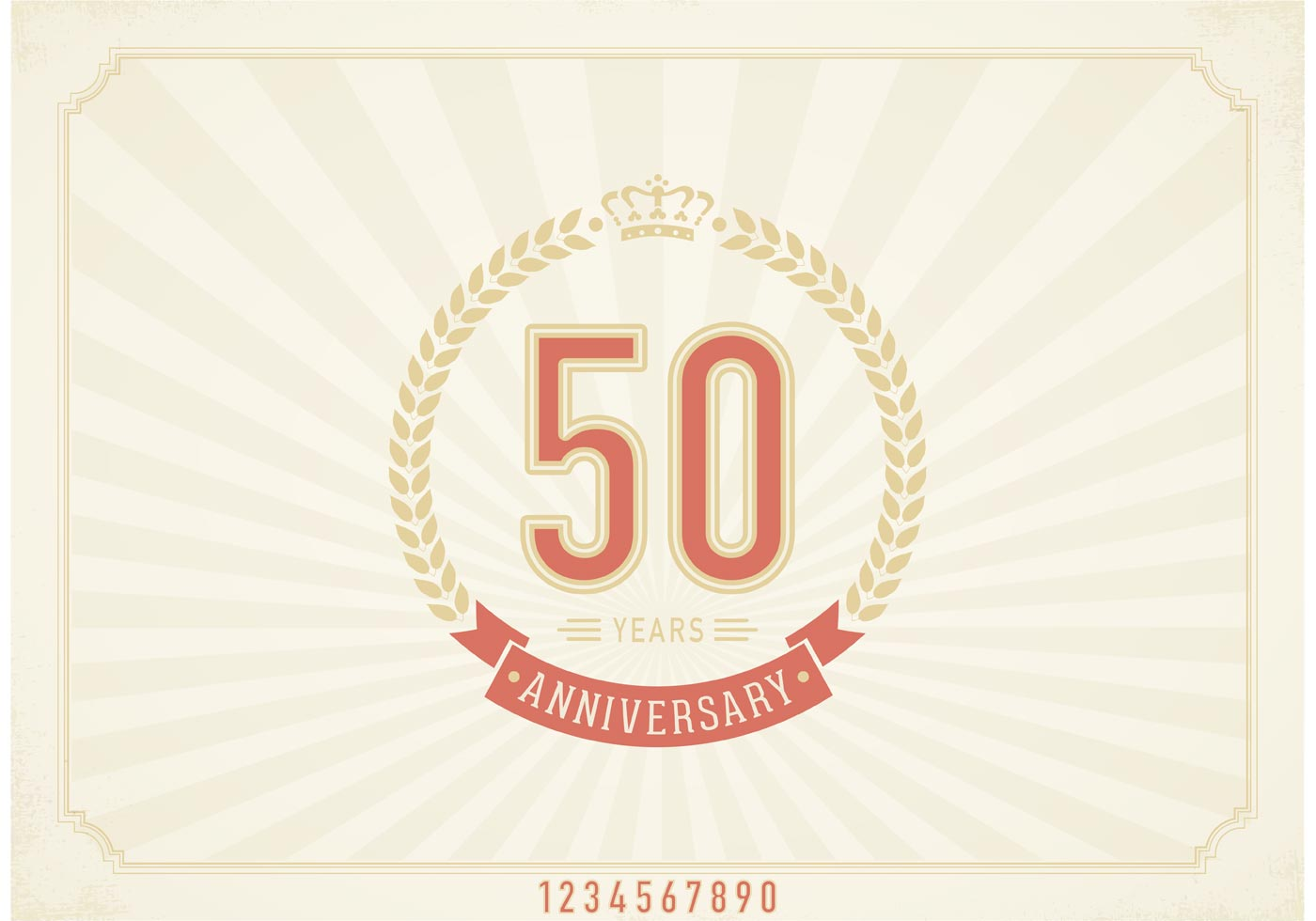 Free Vector Vintage 50 Years Anniversary Label Download