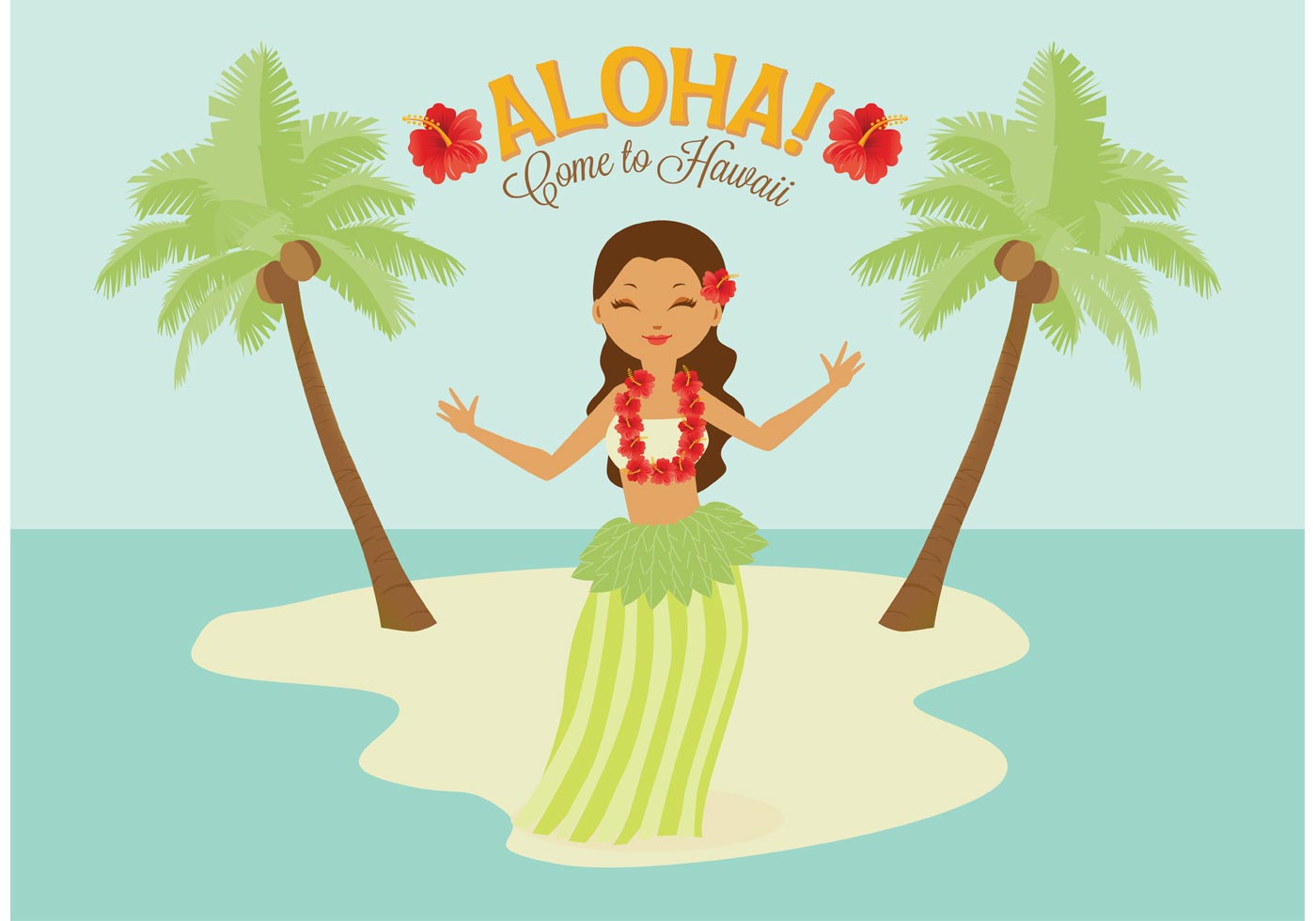 Free Polynesian Hula Female Dancer Vector - Download Free ...