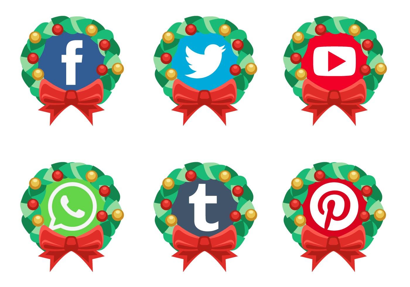 Vector Christmas Social Media Icons Free Vector Art At