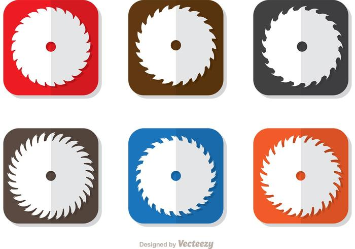Square Icon Of Circular Saw Blade Vector Pack