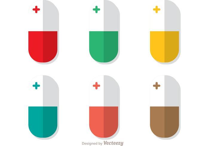 Vertical, blanco, píldoras, vector, paquete