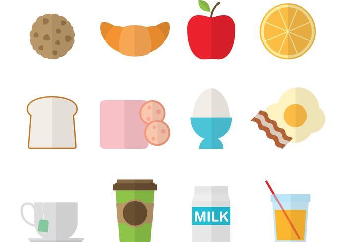 Ícones coloridos do café da manhã