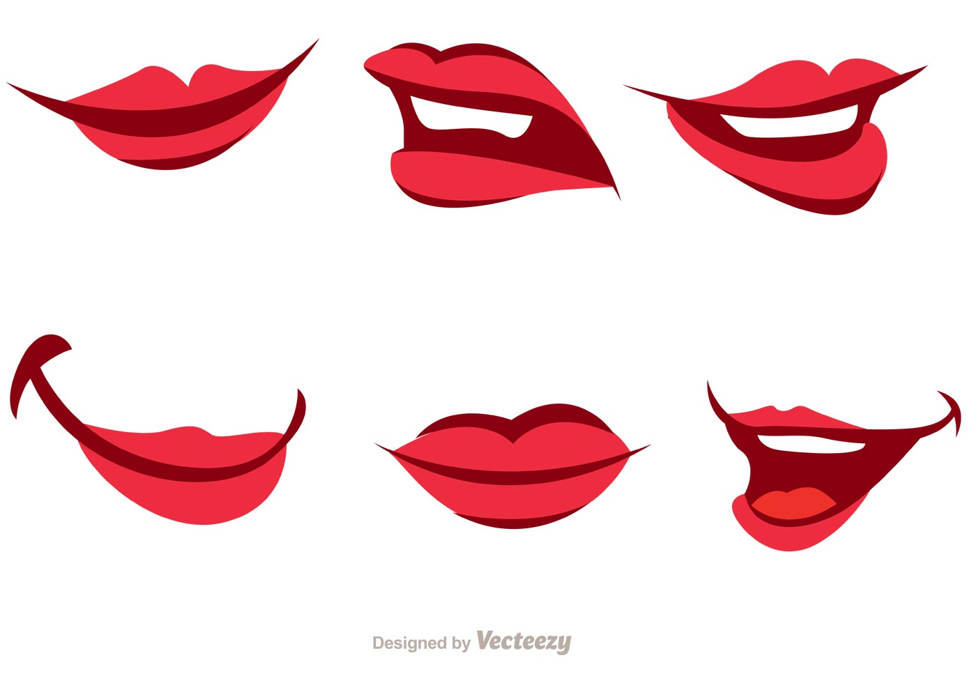 Girl Cartoon Mouth Vector Pack - Download Free Vectors ...