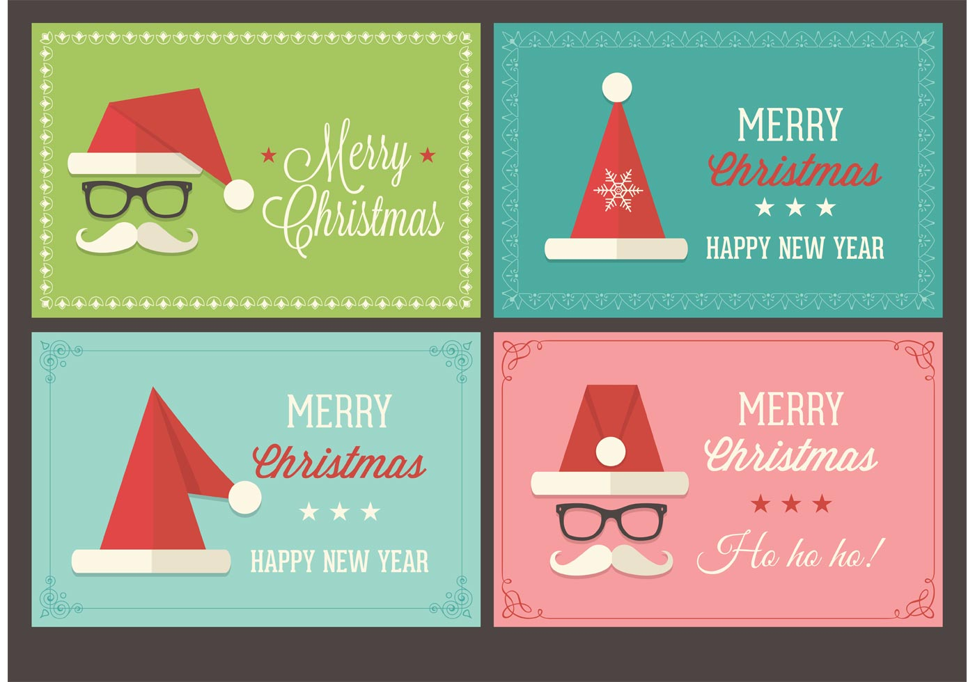 free santa cap christmas retro vector cards download free vector