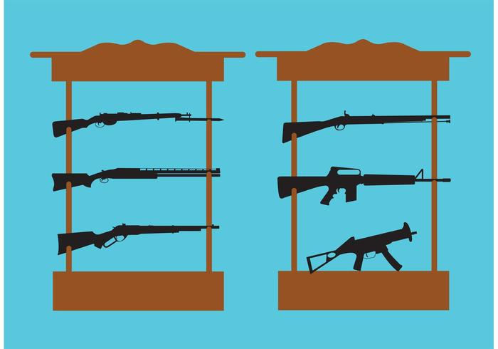 Shelf with Shotguns and Rifles vector