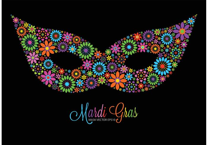 Free Vector Colorful Flowers Mardi Gras Mask