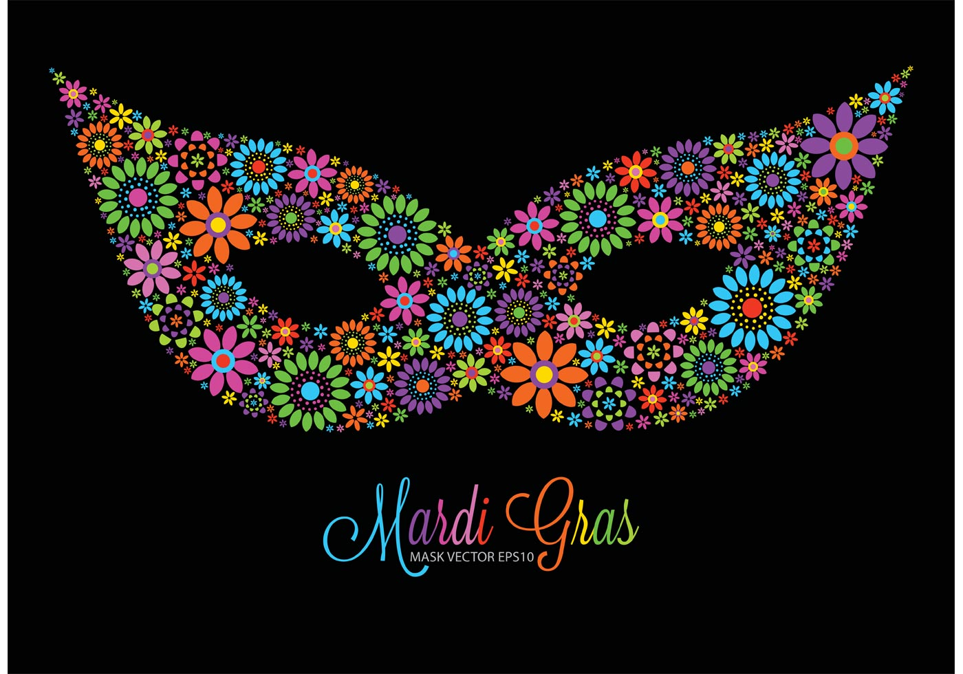 Free vector colorful flowers mardi gras mask download free vectors clipart graphics vector art - Free mardi gras pics ...
