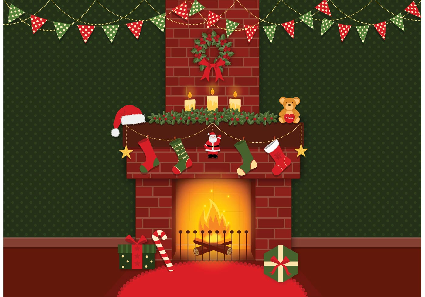 Vector Christmas Fireplace Background Download Free
