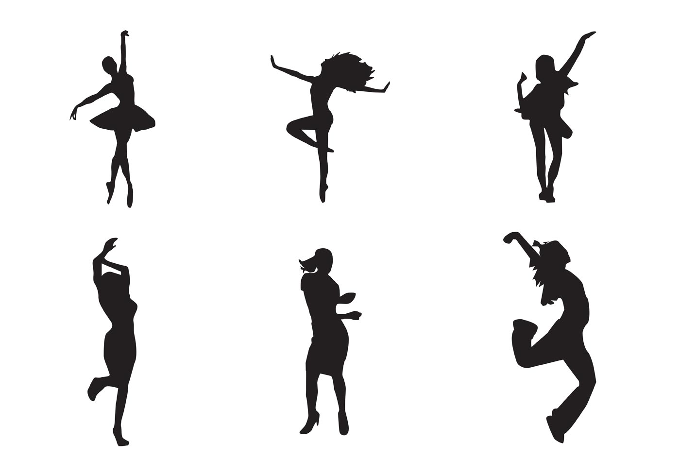 free vector dancing girl silhouettes download free vector art
