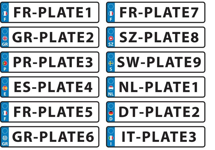 European License Plate Vectors
