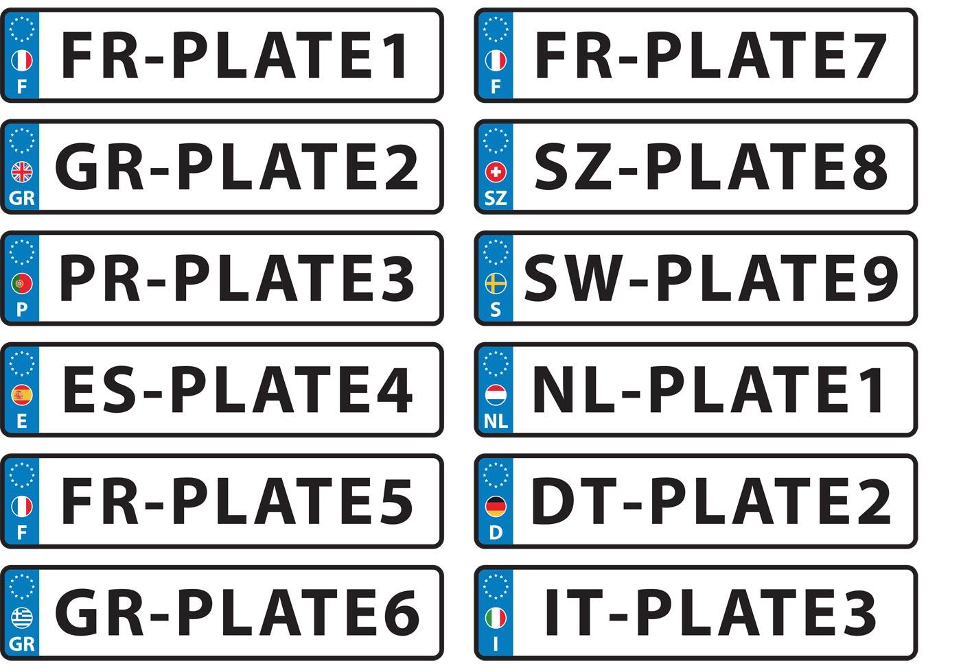 european license plate vectors free vector