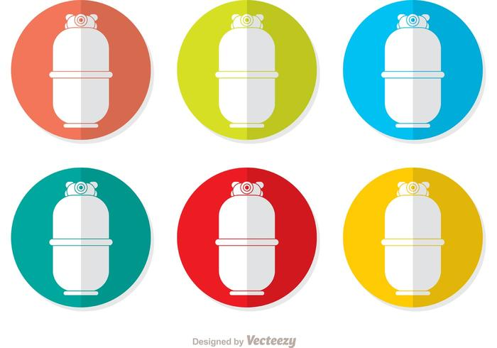 Colorful Gas Cylinder Vector Icons