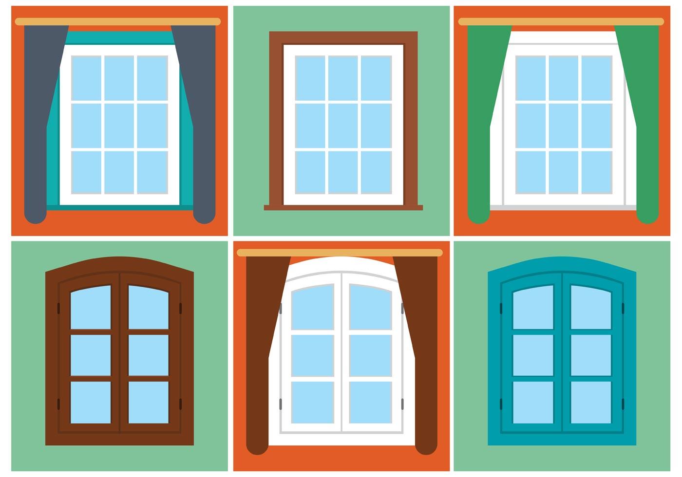 Free vector vintage window set download free vector art for Window design vector