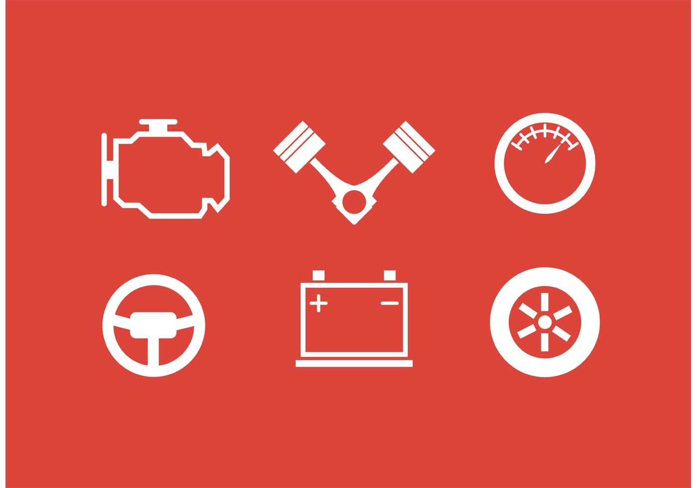White Piston Engine Icon Collection Vector on Vector Download » Car Engine Piston Illustration