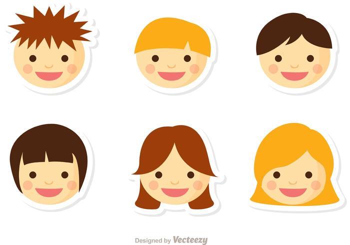 Niños ansikte vektor pack 2