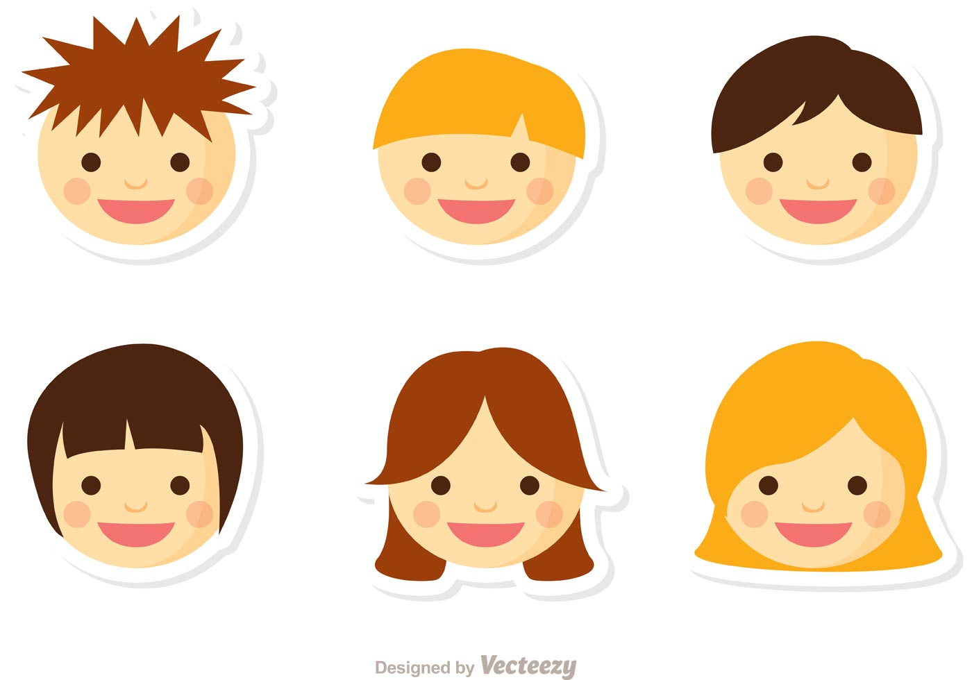 Set Of Cartoon Childrens Faces Stock Vector Art More: Niños Face Vector Pack 2